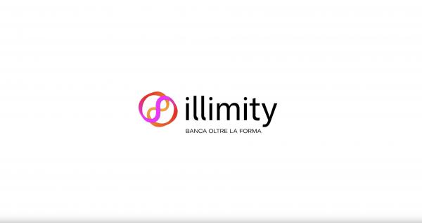 Logo di Illimity Bank simbolo dell'infinito sfondo bianco scritta nera